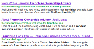 google results for franchise ownership advisor